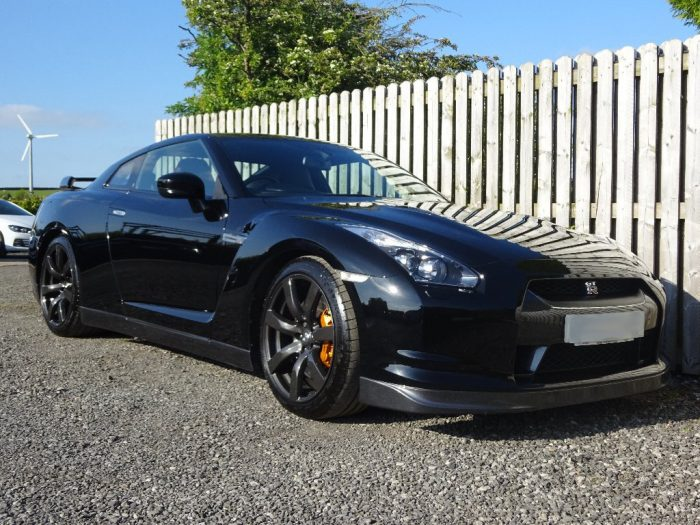 Low front side shot of nissan gtr hire car
